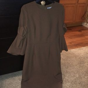 Army green knee length dress